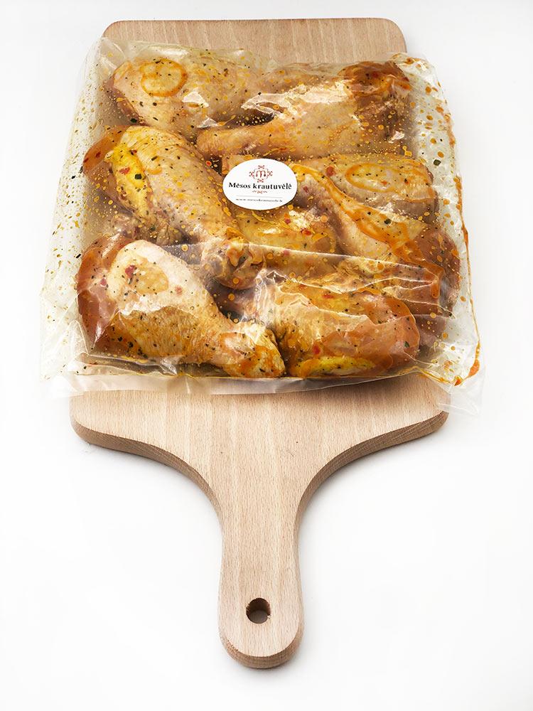 Marinuotos viščiukų blauzdelės. Mėsos gaminių parduotuvė